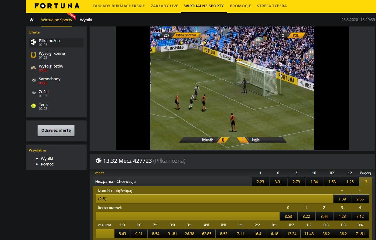 Sporty Wirtualne Fortuna - wirtualna piłka nożna