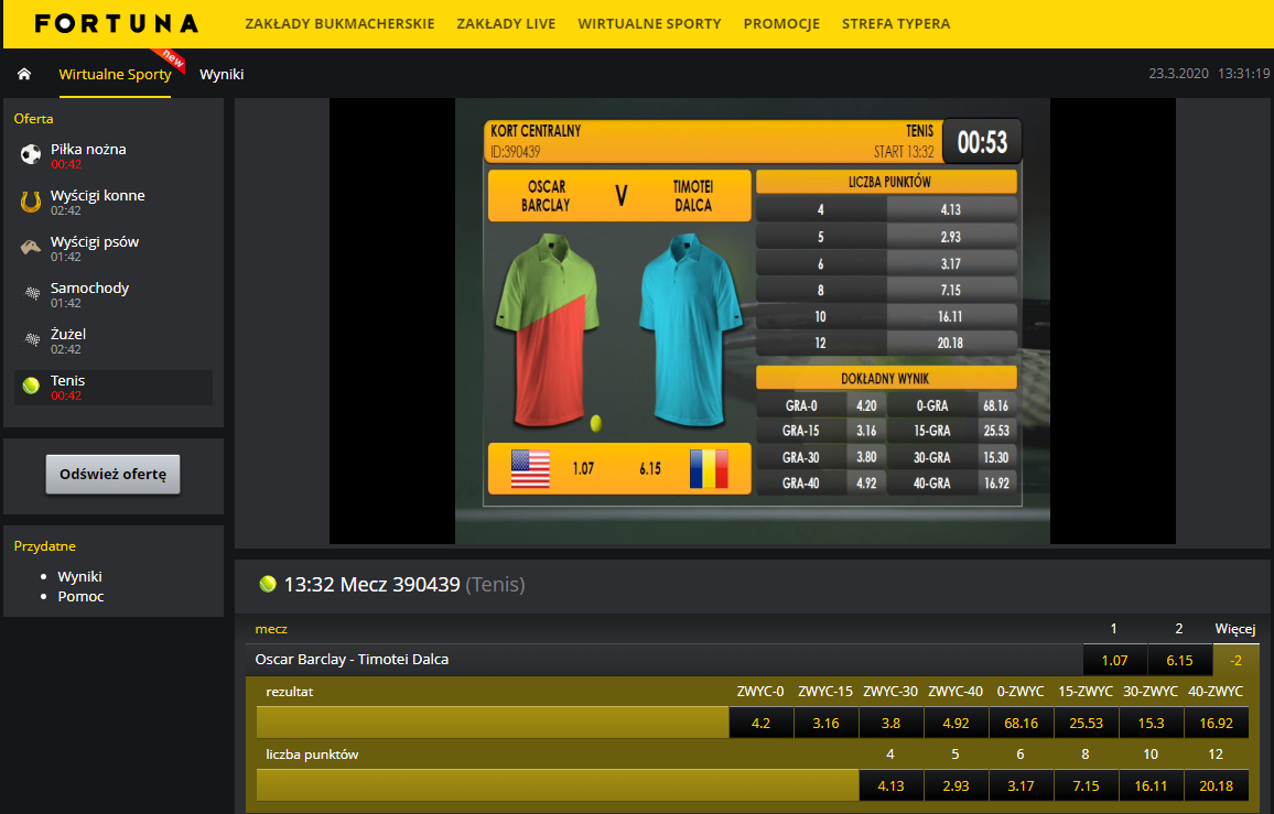 Sporty Wirtualne Fortuna - wirtualny tenis ziemny