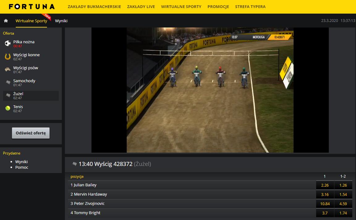 Sporty Wirtualne Fortuna - wirtualny żużel
