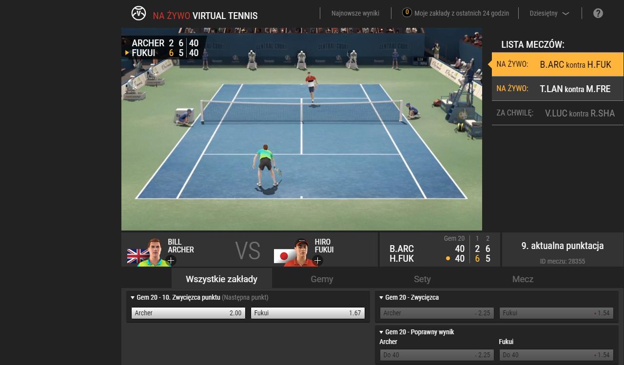 Sporty wirtualne w LVBet - Wirtuale - tenis ziemny