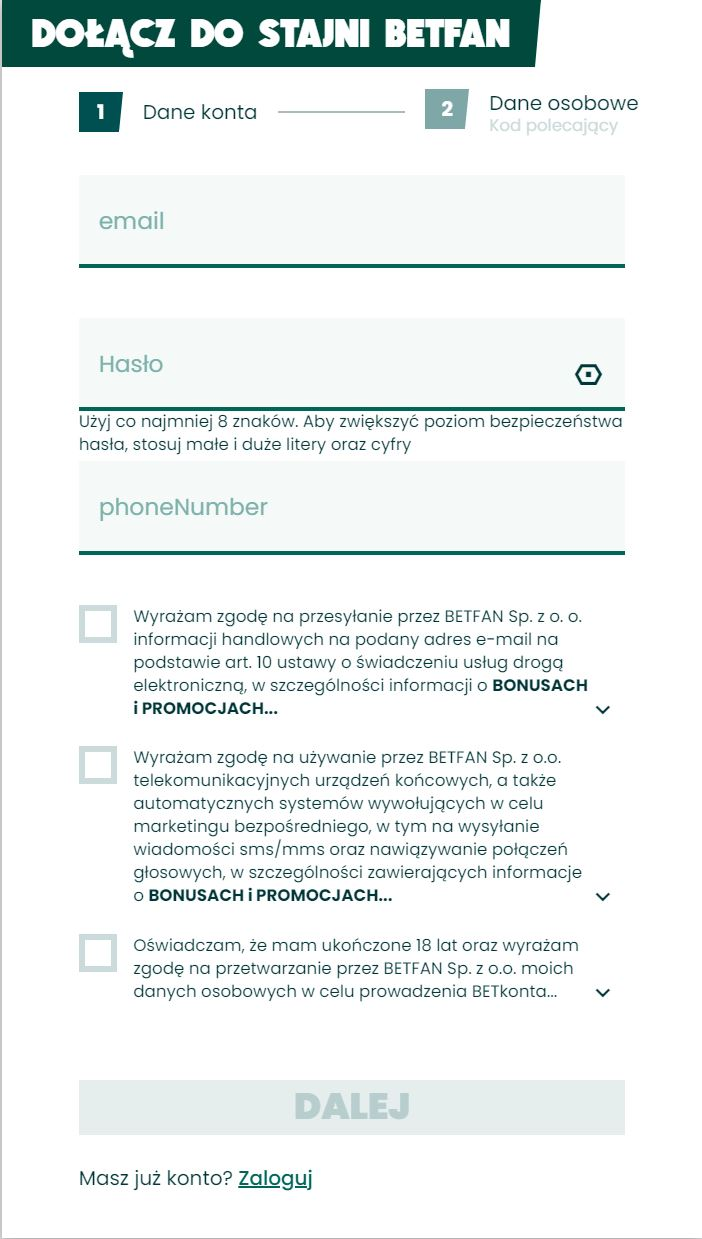 Betfan rejestracja konta - etap 1